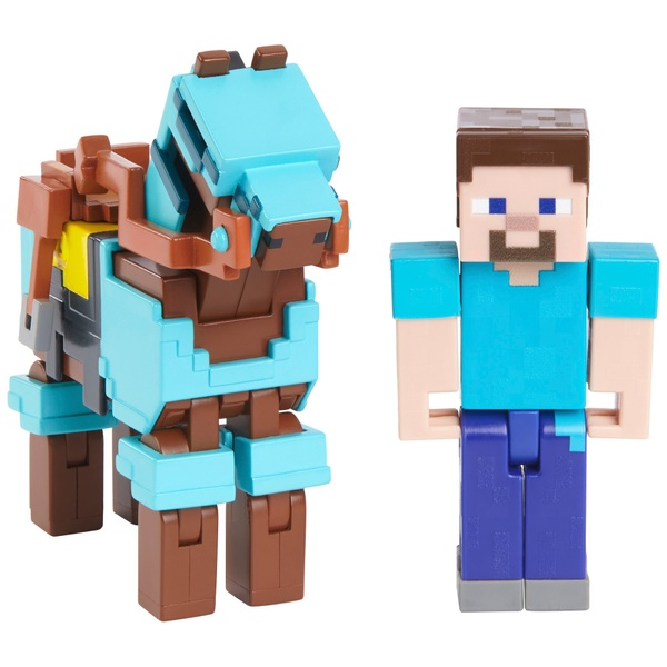 Minecraft 2 Pack Steve And Armoured Horse Smyths Toys Ireland