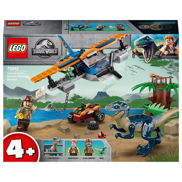 LEGO 75942 Jurassic World Velociraptor Biplane Rescue Toy