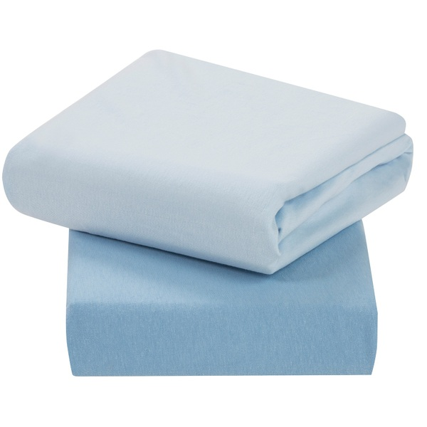 ClevaMama - Jersey Cotton Fitted Sheets 2 Pack Blue - Cot Bed Size 70 x 140 x 12cm