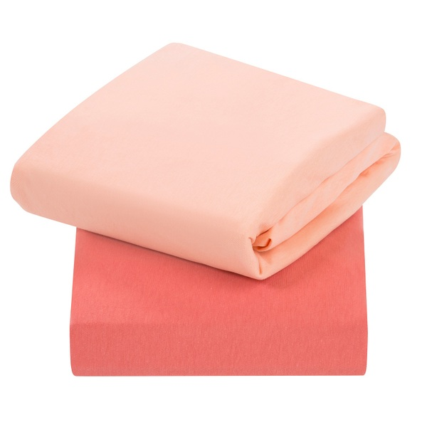 ClevaMama - Jersey Cotton Fitted Sheets 2 Pack Coral - Cot Bed Size 70 x 140 x 12cm
