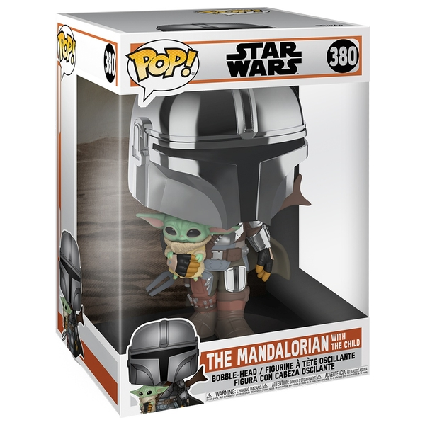 Star Wars The Mandalorian with Chrome Armour Carrying Baby Yoda 10 inch POP! Vinyl