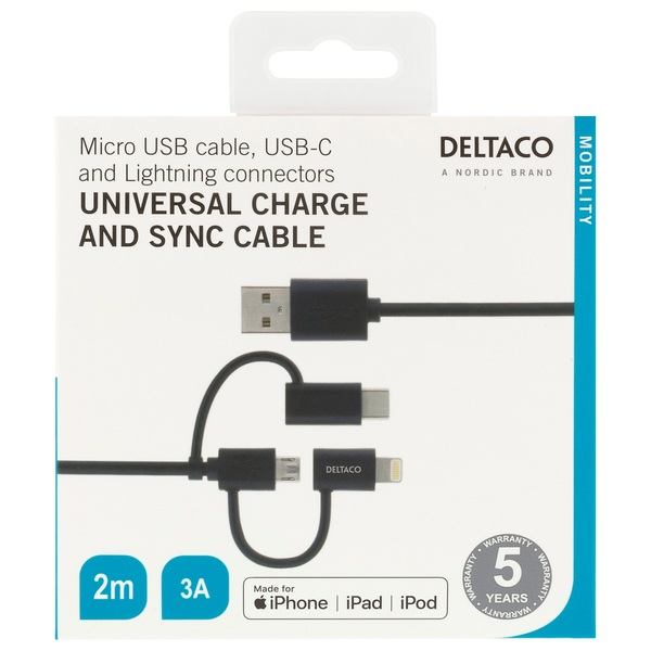 Deltaco Universal USB Charging Cable