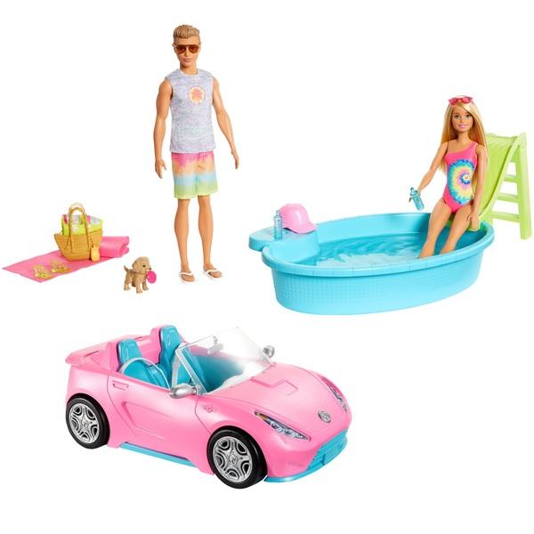 Barbie Beach Fun Playset with Dolls Pool and Car