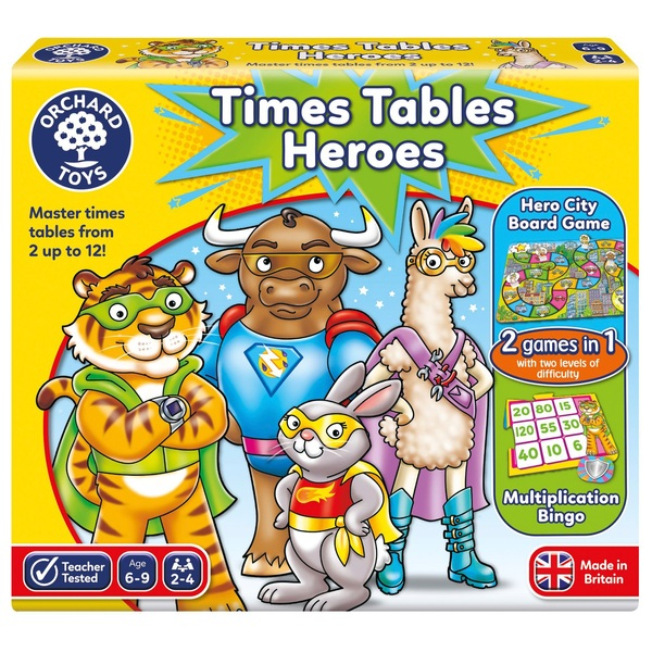 Orchard Toys Times Tables Heroes 2 Games in 1 Board Game