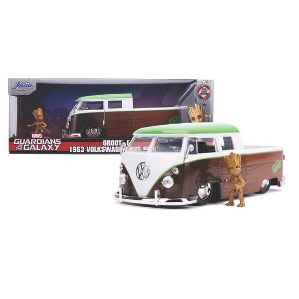 1:24 1962 Volkswagen Collectible Diecast Bus with Groot Figure