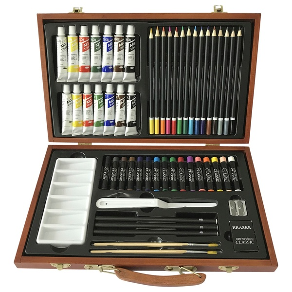 55 Pieces Wooden Box Art Set