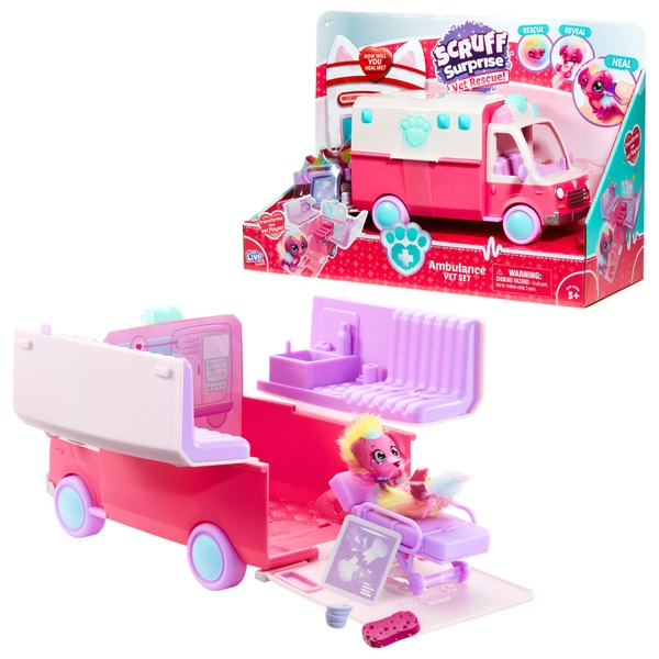Scruff Surprise Vet Rescue Collectable Ambulance Play Set