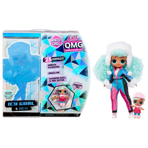 L.O.L. Surprise! O.M.G. Winter Chill Icy Gurl & Brrr B.B. Doll with 25 Surprises