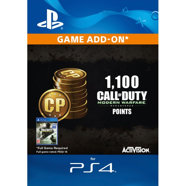 1,100 Call of Duty MW Remastered PS4 Points Digital Download