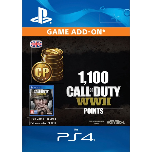 1100 Call of Duty: WWII Points PS4 Digital Download