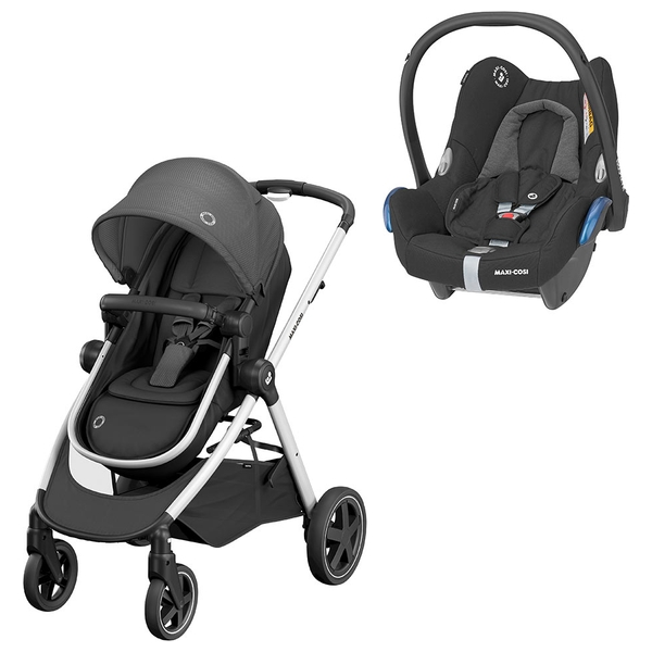 Maxi Cosi Zelia Essential Black Stroller & Cabriofix Group 0+ Car Seat