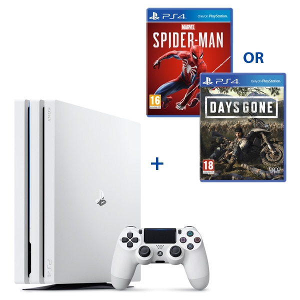 PS4 Pro 1TB White Console & One Select Game