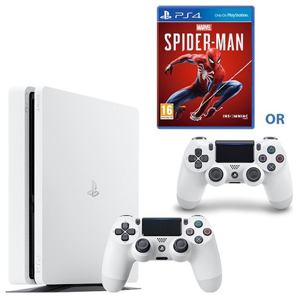 PS4 500GB White Console & Select Game or Extra Controller