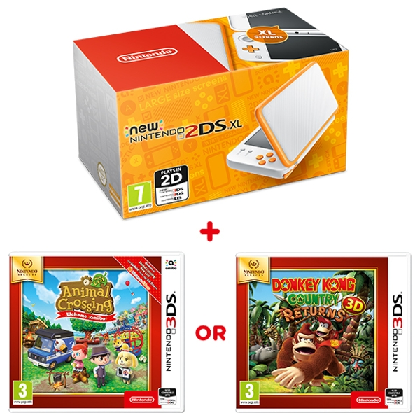 New Nintendo 2DS XL White and Orange Console & One Select Game