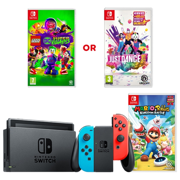 Nintendo Switch Neon Red/Blue with Mario & Rabbids and Select Game