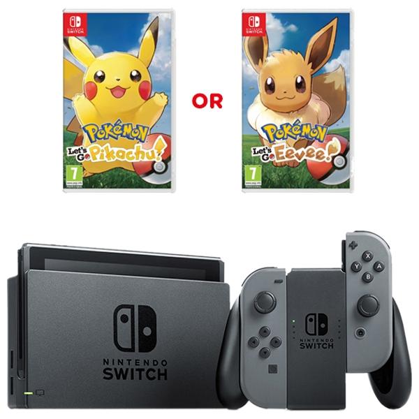Nintendo Switch Grey with Pokémon: Let's Go Pikachu or Eevee