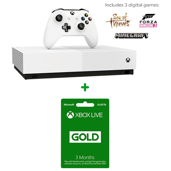 Xbox One S 1TB All Digital Console & 3 Months Xbox Live