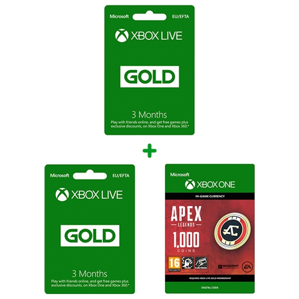 Xbox Live 3 Month Gold & 3 Months Live & 1000 Apex Coins