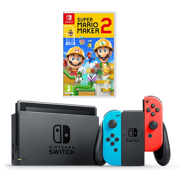 Nintendo Switch Neon Console & Super Mario Maker 2