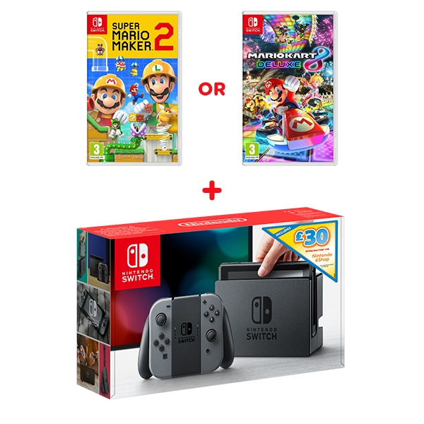 Nintendo Switch Grey Console, £30 eShop Credit & One Select Game