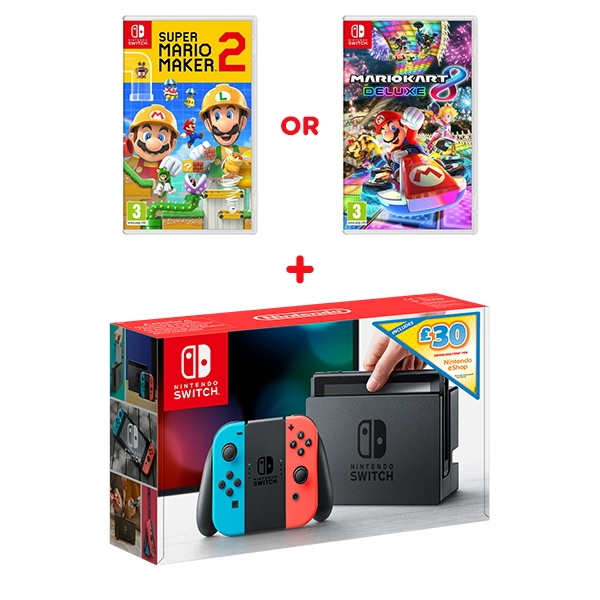 Nintendo Switch Neon Console, £30 eShop Credit & One Select Game