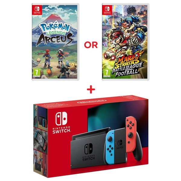 Nintendo Switch Neon Console (Improved Battery) & Select Game