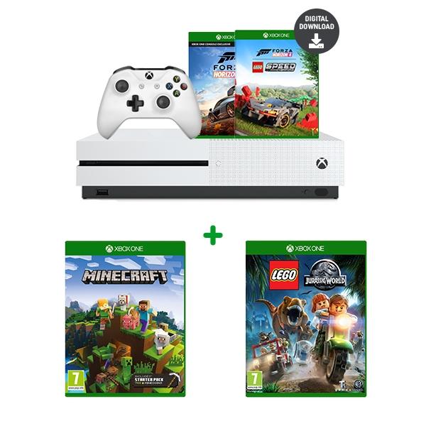 Xbox One S Forza Bundle, Minecraft & LEGO Jurassic World