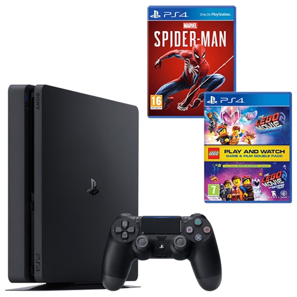 PS4 500GB Black, Spider-Man & LEGO Movie 2 Double Pack