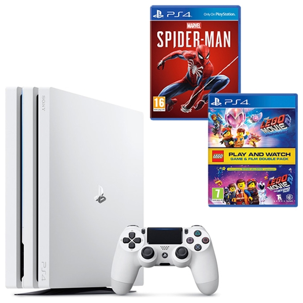 PS4 Pro White, Spider-Man & LEGO Movie 2 Double Pack