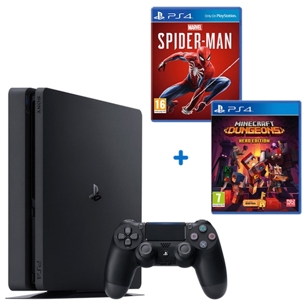 PS4 500GB, Minecraft Dungeons & Select Game