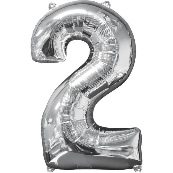 Partybedarfballons - Amscan Folienballon Zahl 2, silber - Onlineshop Smyths Toys