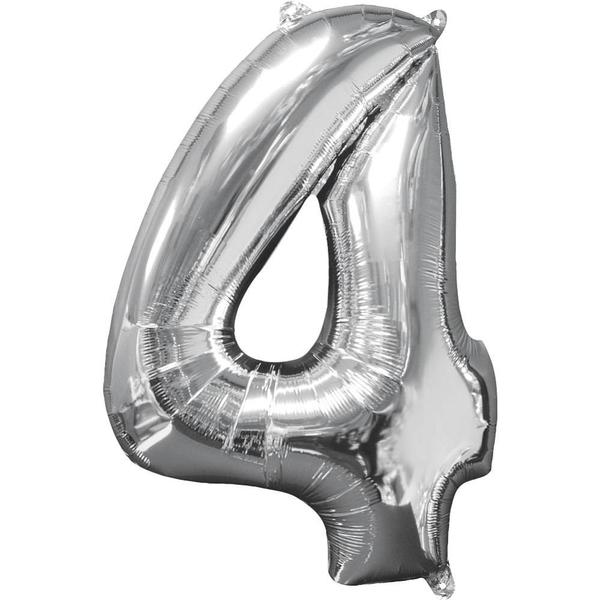 Partybedarfballons - Amscan Folienballon Zahl 4, silber - Onlineshop Smyths Toys