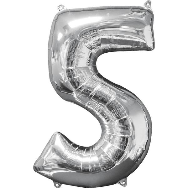Partybedarfballons - Amscan Folienballon Zahl 5, silber - Onlineshop Smyths Toys