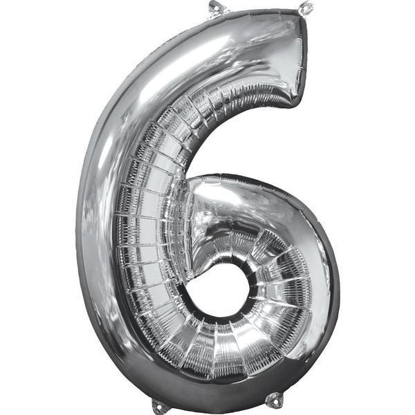 Partybedarfballons - Amscan Folienballon Zahl 6, silber - Onlineshop Smyths Toys