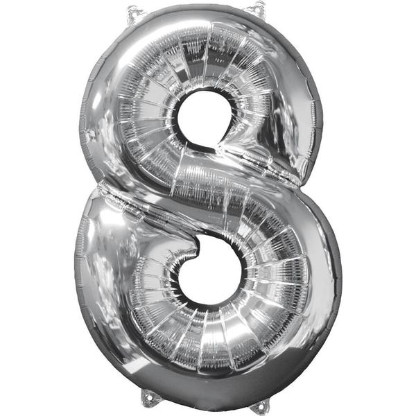 Partybedarfballons - Amscan Folienballon Zahl 8, silber - Onlineshop Smyths Toys