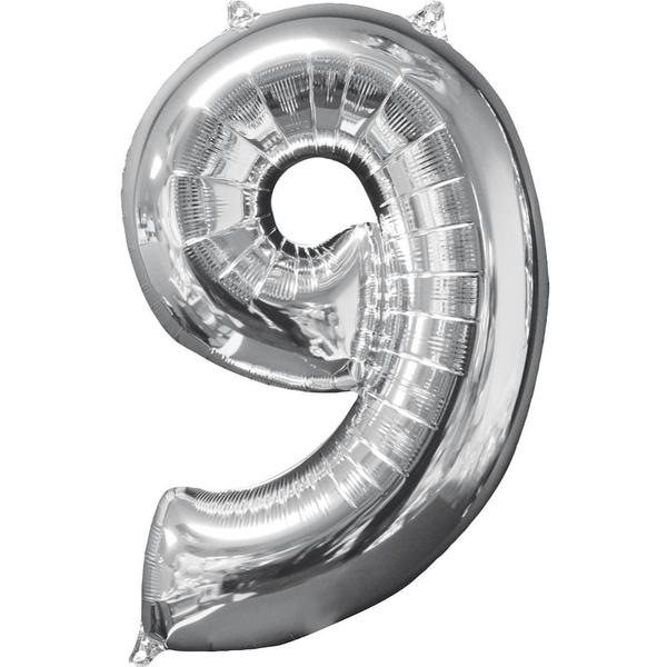 Partybedarfballons - Amscan Folienballon Zahl 9, silber - Onlineshop Smyths Toys
