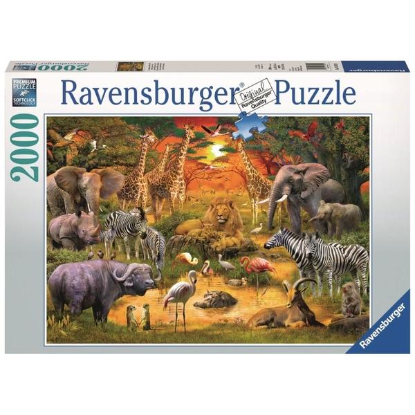 Ausgefallenkreatives - Ravensburger Puzzle Versammlung am Wasserloch, 2000 Teile - Onlineshop Smyths Toys