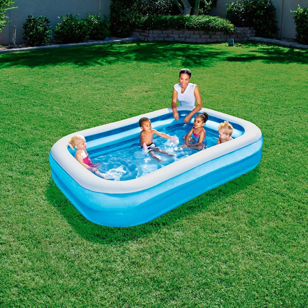 Blue Rectangular Family Swimming Pool