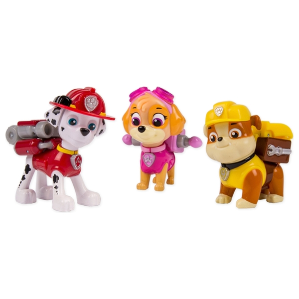 Paw Patrol - Action 3er Pack mit Hundewelpen Marshall, Rubble und Skye