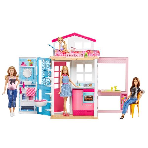 Barbie - 2-Etagen-Ferienhaus und Puppe