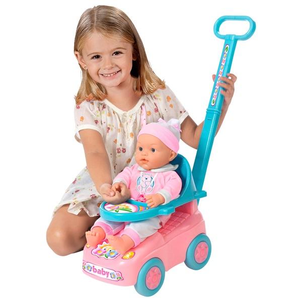 Puppe mit Rutscherfahrzeug