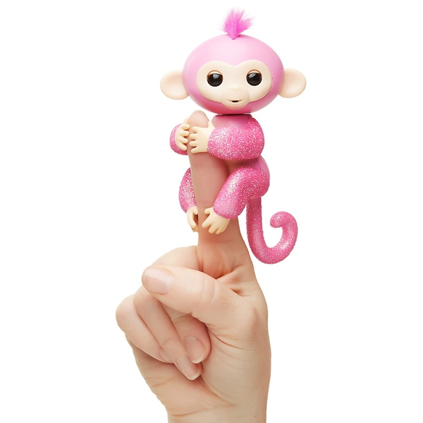 WowWee - Fingerlings Glitzer Roboter-Affe, Rose (Pink Glitzer)