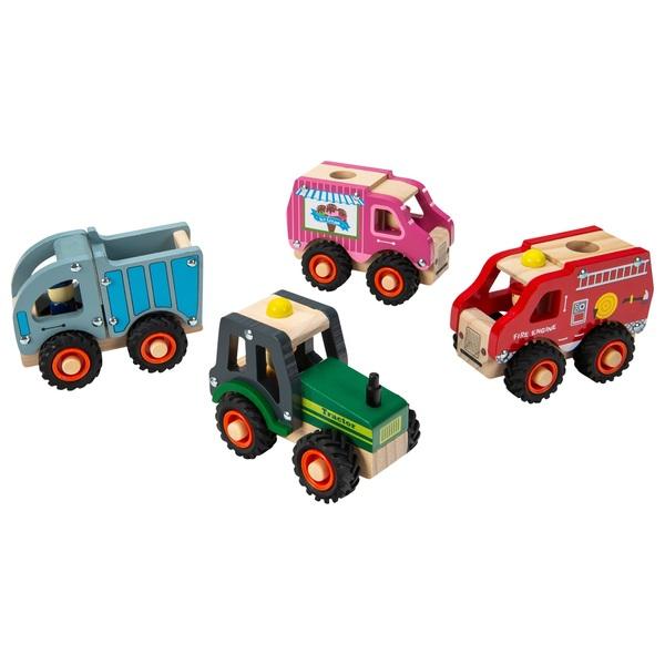 Holzfahrzeuge, sortiert