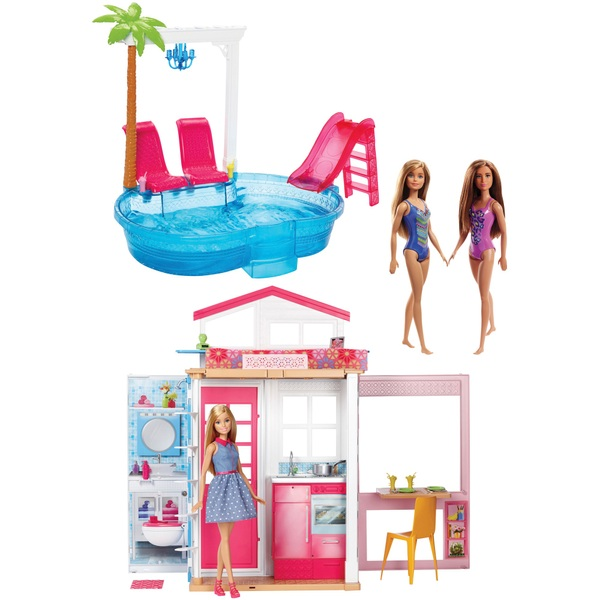 Barbie - Haus mit Pool + 3 Puppen