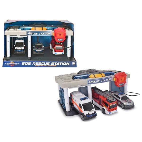Dickie Toys - SOS Station mit 3 Fahrzeugen