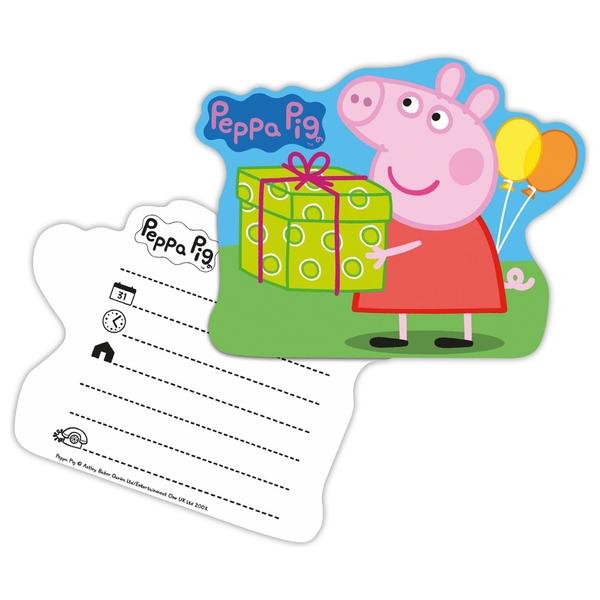 Peppa Pig - Einladungskarten, 6 Stück