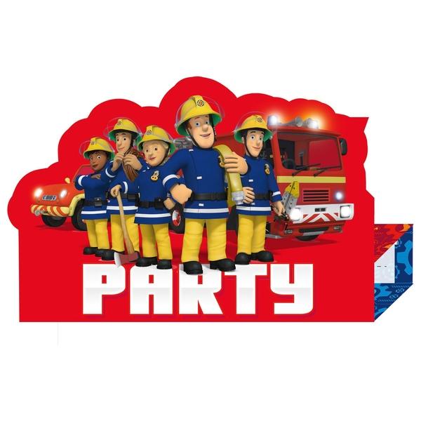 Feuerwehrmann Sam - 8 Einladungskarten mit Umschlägen