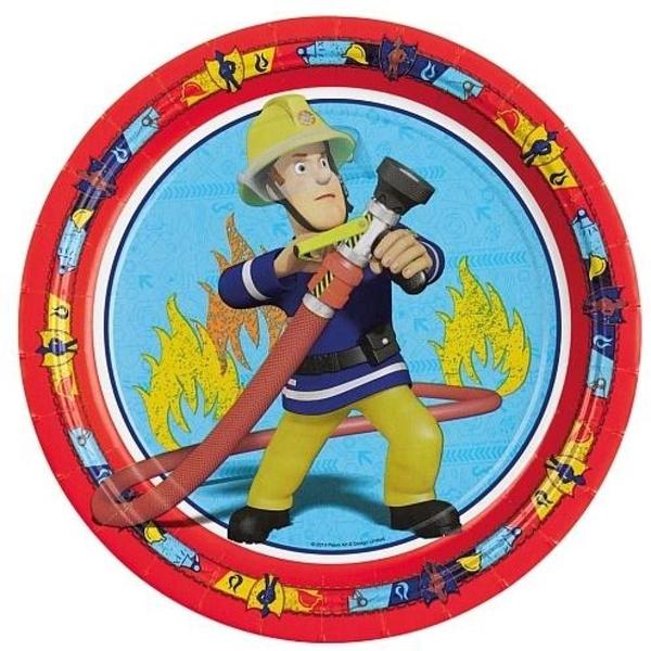 Feuerwehrmann Sam - 8 Pappteller, Ø 23 cm