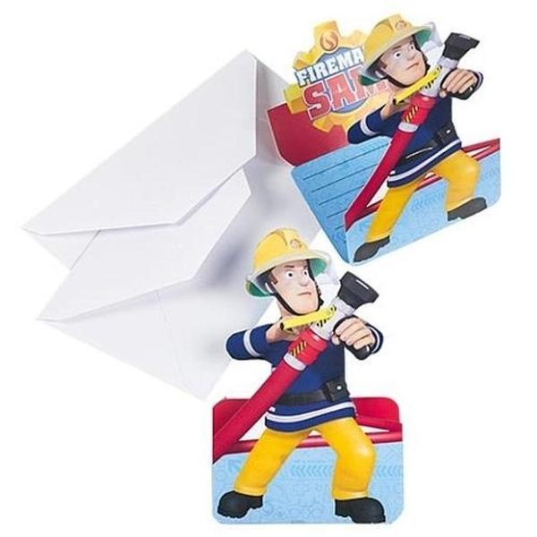 Feuerwehrmann Sam - 8 Einladungskarten