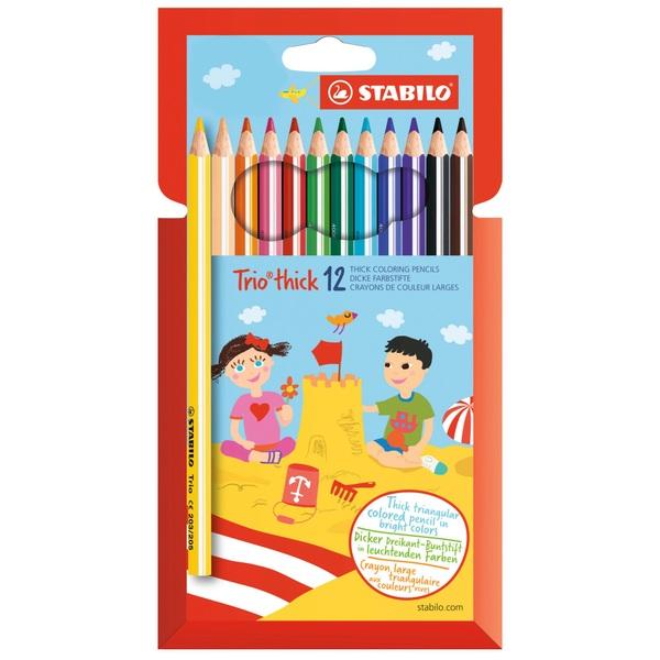 Stabilo - Farbstift Trio dick + 1 Bleistift, 12 er Packung